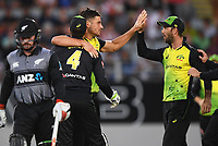 Marcus Stoinis celebrates the wicket of Seifert.<br /> New Zealand Black Caps v Australia.Tri-Series International Twenty20 cricket final. Eden Park, Auckland, New Zealand. Wednesday 21 February 2018. &copy; Copyright Photo: Andrew Cornaga / www.Photosport.nz
