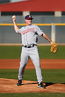 Former major league outfielder/infielder Cory Snyder pitches to campers during the Cleveland Indians Fantasy camp at the Goodyear Training Complex in Goodyear, Arizona;  January 18, 2011.  Photo By Mike Janes/Four Seam Images