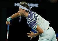 29th January 2020; Melbourne Park, Melbourne, Victoria, Australia; Australian Open Tennis, Day 10; Dominic Thiem of Austria serves during his mens singles semi-final match against Alexander Zverev of Germany