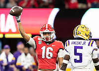 ATLANTA, GA - DECEMBER 7: Demetris Robertson #16 of the Georgia Bulldogs celebrates a catch during a game between Georgia Bulldogs and LSU Tigers at Mercedes Benz Stadium on December 7, 2019 in Atlanta, Georgia.