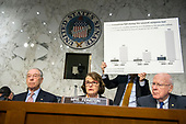 "United States Senator Dianne Feinstein (Democrat of California), center, uses a chart to make a point as she makes an opening statement before hearing testimony before the US Senate Committee on the Judiciary during ""an oversight hearing to examine the Parkland shooting and legislative proposals to improve school safety"" on Capitol Hill in Washington, DC on Wednesday, March 14, 2018.  At left is US Senator Charles Grassley (Republican of Iowa) and at right is US Senator Patrick Leahy (Democrat of Vermont).<br /> Credit: Ron Sachs / CNP"