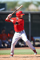 Los Angeles Angels of Anaheim Andrew Daniel (47) during an Instructional League game against the San Francisco Giants on October 13, 2016 at the Tempe Diablo Stadium Complex in Tempe, Arizona.  (Mike Janes/Four Seam Images)