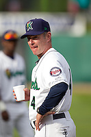 Cedar Rapids Kernels roving instructor Paul Molitor #4 looks on prior to a game against the Kane County Cougars at Veterans Memorial Stadium on June 8, 2013 in Cedar Rapids, Iowa. (Brace Hemmelgarn/Four Seam Images)