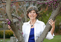 NWA Democrat-Gazette/DAVID GOTTSCHALK  Charlotte Taylor, executive director of the Botanical Garden of the Ozarks, speaks Thursday, April 7, 2016, on the grounds in Fayetteville about the upcoming Greening of the Garden gala taking place Tuesday, May 10.
