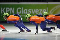 SCHAATSEN: DORDRECHT: Sportboulevard, Korean Air ISU World Cup Finale, 11-02-2012, Sjinkie Knegt NED (62), Niels Kerstholt NED (61), Freek van der Wart NED (63), ©foto: Martin de Jong