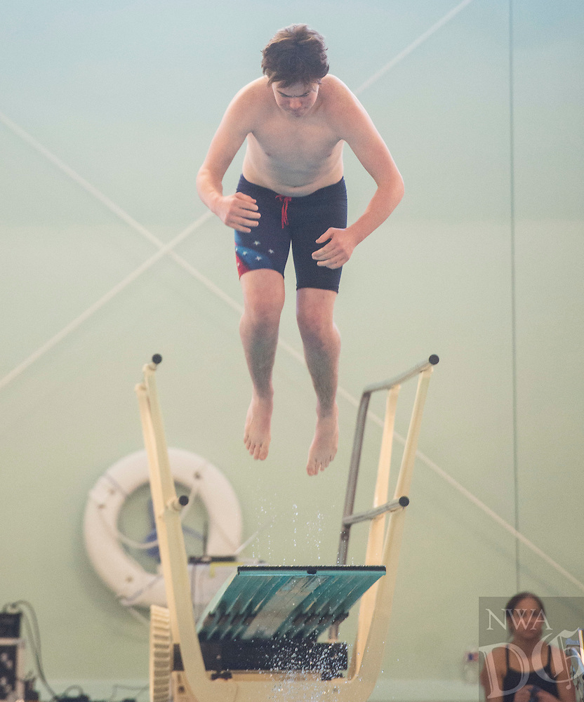 NWA Democrat-Gazette/ANTHONY REYES @NWATONYR<br /> Charlie Louree of Rogers during the Arkansas State Dive meet Friday, Feb. 24, 2017 at the Bentonville Community Center in Bentonville.