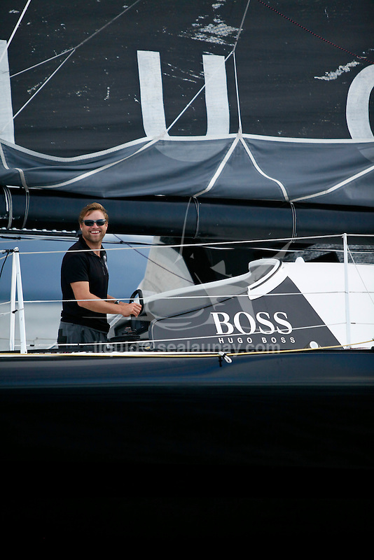 Arrival of the Transat Jacques Vabre 2011 for the second IMOCA 60, Alex Thomson and Guillermo Altadill on Hugo Boss (Farr Design) in Puerto Limon, Costa Rica.