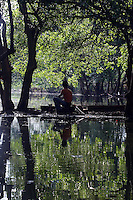 A man fishes in a mangrove forest in northern Jakarta.<br /> <br /> To license this image, please contact the National Geographic Creative Collection:<br /> <br /> Image ID: 1588071 <br />  <br /> Email: natgeocreative@ngs.org<br /> <br /> Telephone: 202 857 7537 / Toll Free 800 434 2244<br /> <br /> National Geographic Creative<br /> 1145 17th St NW, Washington DC 20036