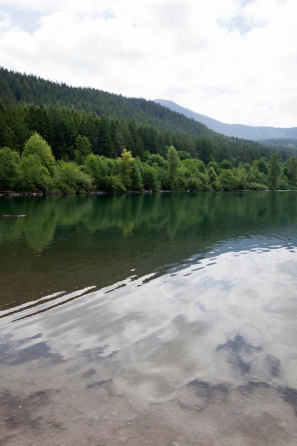 Reflection of trees in Rattlesnake Lake, Washington, WA, USA