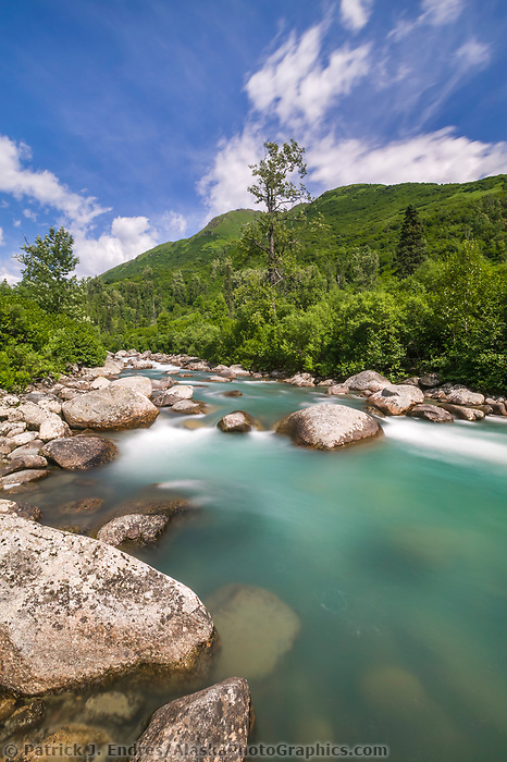 The Little Susitna river flows over boulders, near Hatcher Pass, Alaska