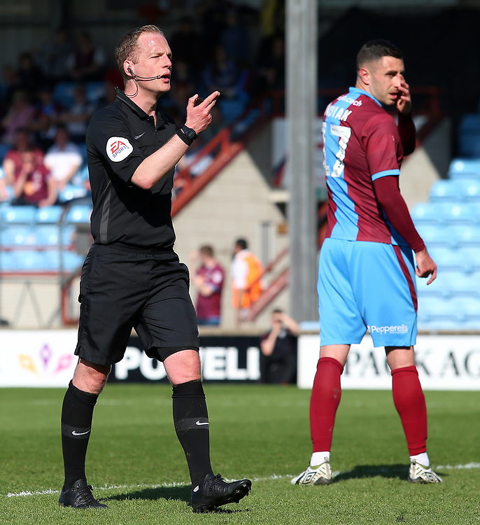 Referee Martin Coy in action<br /> <br /> Photographer David Shipman/CameraSport<br /> <br /> The EFL Sky Bet League One - Scunthorpe United v Blackpool - Friday 19th April 2019 - Glanford Park - Scunthorpe<br /> <br /> World Copyright © 2019 CameraSport. All rights reserved. 43 Linden Ave. Countesthorpe. Leicester. England. LE8 5PG - Tel: +44 (0) 116 277 4147 - admin@camerasport.com - www.camerasport.com
