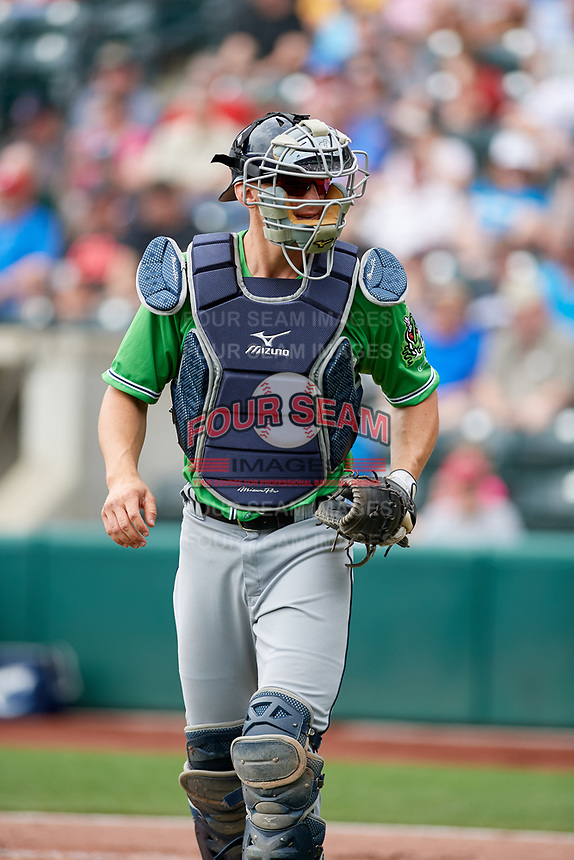 Gwinnett Stripers catcher Rob Brantly (8) during a game against the Columbus Clippers on May 17, 2018 at Huntington Park in Columbus, Ohio.  Gwinnett defeated Columbus 6-0.  (Mike Janes/Four Seam Images)