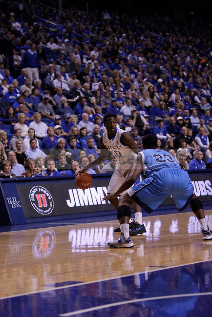Freshman Guard Archie Goodwin looks for an open pass during the first half of the University of Kentucky vs. Northwood Basketball exhibition game at Rupp Arean in Lexington, Ky., on, {November} {1}, {2012}. Photo by Jared Glover | Staff