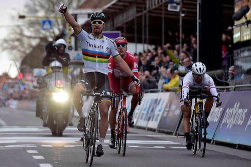 27.03.2016. Deinze, Belgium.  SAGAN Peter (SVK) Rider of TINKOFF wins before VANMARCKE Sep (BEL) Rider of TEAM LOTTO NL - JUMBO, KUZNETSOV Viacheslav (RUS) Rider of TEAM KATUSHA and CANCELLARA Fabian (SUI) Rider of TREK - SEGAFREDO during the Flanders Classics UCI World Tour 78nd Gent-Wevelgem cycling race with start in Deinze and finish in Wevelgem