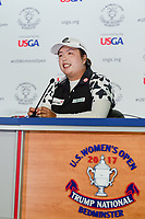 Shanshan Feng (CHN) during her press conference following  Thursday's first round of the 72nd U.S. Women's Open Championship, at Trump National Golf Club, Bedminster, New Jersey. 7/13/2017.<br /> Picture: Golffile | Ken Murray<br /> <br /> <br /> All photo usage must carry mandatory copyright credit (&copy; Golffile | Ken Murray)