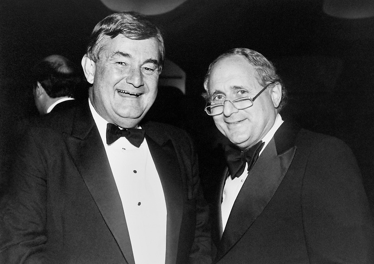 "Portrait of Rep. Charles Grandison ""Charlie"" Rose III, D-N.C., and Rep. Sander Martin ""Sandy"" Levin, D-Mich., at the Senate Democratic Dinner. September 27, 1989 (Photo by Laura Patterson/CQ Roll Call)"