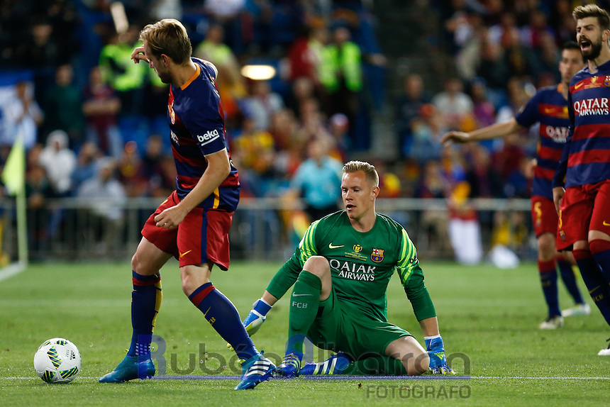FC Barcelona´s  Rakitic and Ter Steger during the Final of Copa del Rey match between FC Barcelona and SevillaFC at the Vicente Calderon Stadium in Madrid, Sunday, May 22, 2016.