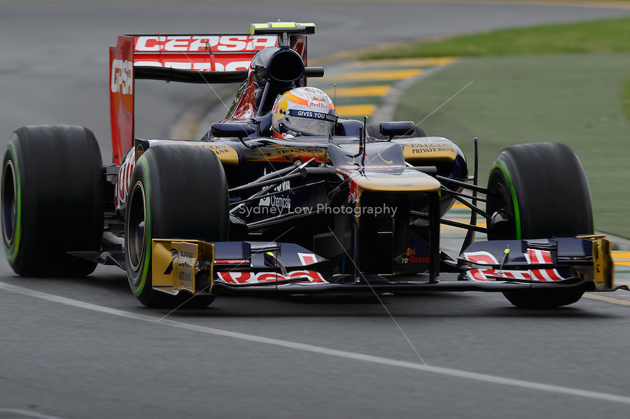 MELBOURNE, 16 March - Jean-Eric Vergne of the Scuderia Toro Rosso Team during free practise session one of the the 2012 Formula One Australian Grand Prix at the Albert Park Circuit in Melbourne, Australia. (Photo Sydney Low / syd-low.com)