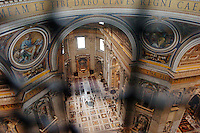 A view of St. Peter's Basilica from the dome high above in Rome, Italy March 2, 2006. (Photo by Alan Greth)
