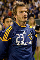 David Beckham of the LA Galaxy dduring the national anthem. The LA Galaxy defeated the Columbus Crew 3-1 at Home Depot Center stadium in Carson, California on Saturday Sept 11, 2010.