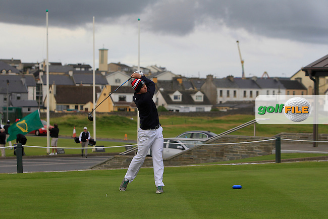 Daniel Hallissey (Muskerry) on the 1st tee during Round 2 of the South of Ireland Amateur Open Championship at LaHinch Golf Club on Thursday 23rd July 2015.<br /> Picture:  Golffile | Thos Caffrey