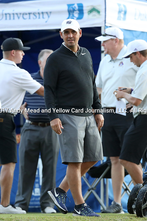 DURHAM, NC - SEPTEMBER 16: Liberty head coach Jeff Thomas. The first round of the Rod Myers Invitational Men's Golf Tournament was held on September 16, 2017, at the Duke University Golf Club in Durham, NC.