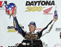 Ben Bostrum clenrates in victory lane after winning the Daytona 200 at Daytona International Speedway, Daytona Beach, FL, March 2009.  (Photo by Brian Cleary/www.bcpix.com)