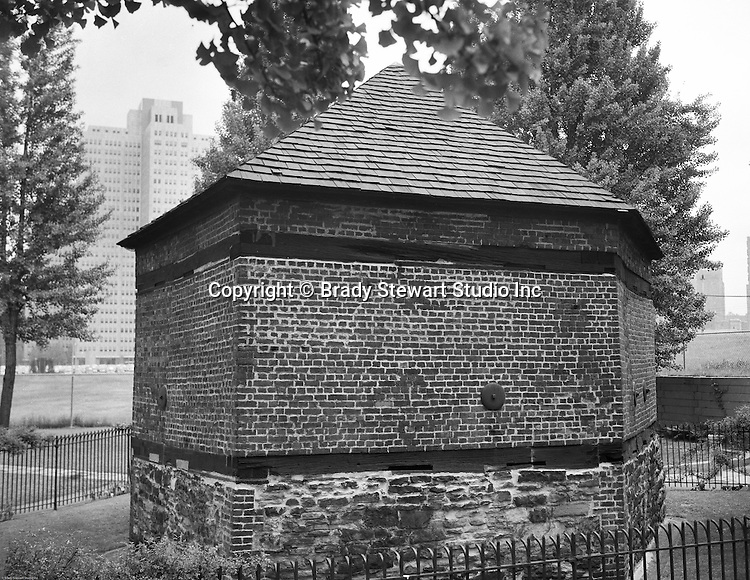 Pittsburgh PA:  Originally built in 1764, the Blockhouse was renovated with support from the Daughters of the American Revolution. The Blockhouse is part of Point State Park and open to the public - 1953