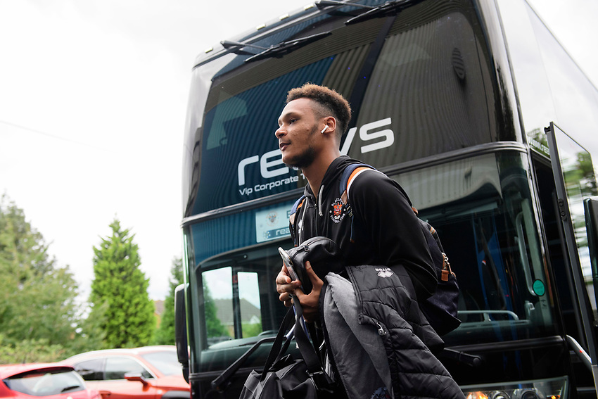 Blackpool's Christoffer Mafoumbi gets off the team bus after arriving at the ground<br /> <br /> Photographer Chris Vaughan/CameraSport<br /> <br /> The EFL Sky Bet League One - Coventry City v Blackpool - Saturday 7th September 2019 - St Andrew's - Birmingham<br /> <br /> World Copyright © 2019 CameraSport. All rights reserved. 43 Linden Ave. Countesthorpe. Leicester. England. LE8 5PG - Tel: +44 (0) 116 277 4147 - admin@camerasport.com - www.camerasport.com