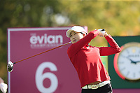 Jennifer Song (USA) tees off the 6th tee during Thursday's Round 1 of The Evian Championship 2018, held at the Evian Resort Golf Club, Evian-les-Bains, France. 13th September 2018.<br /> Picture: Eoin Clarke | Golffile<br /> <br /> <br /> All photos usage must carry mandatory copyright credit (© Golffile | Eoin Clarke)