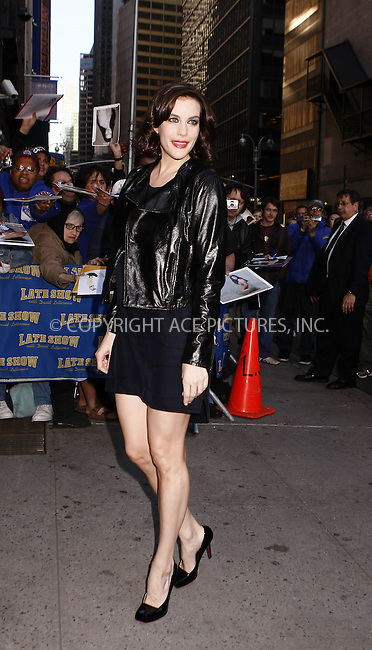 WWW.ACEPIXS.COM . . . . .  ....May 19 2008, New York City....Actress Liv Tyler appeared at the 'Late Show with David Letterman' at the Ed Sullivan Theatre in midtown Manhattan.....Please byline: AJ Sokalner - ACEPIXS.COM..... *** ***..Ace Pictures, Inc:  ..te: (646) 769 0430..e-mail: info@acepixs.com..web: http://www.acepixs.com