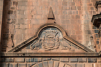 Peru, Cusco.  The Cathedral, 16th. century.  Coat of Arms