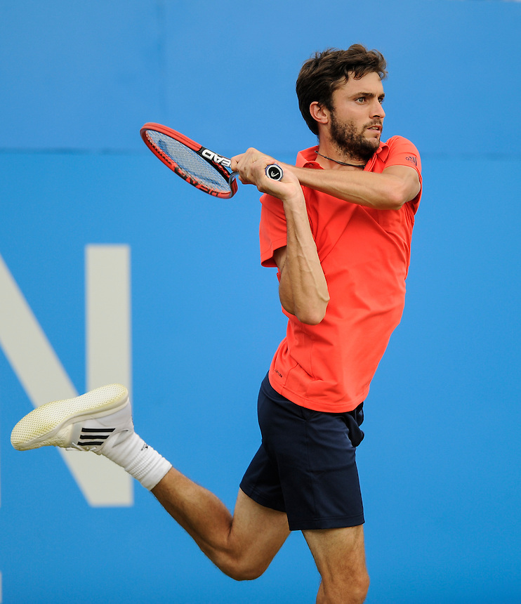 Gilles Simon (FRA) in action today during his match against Kevin Anderson (RSA) in their Men&rsquo;s Singles Semi Final match<br /> <br /> <br /> Photographer Ashley Western/CameraSport<br /> <br /> Tennis - ATP 500 World Tour - AEGON Championships- Day 6 - Saturday 20th June 2015 - Queen's Club - London <br /> <br /> &copy; CameraSport - 43 Linden Ave. Countesthorpe. Leicester. England. LE8 5PG - Tel: +44 (0) 116 277 4147 - admin@camerasport.com - www.camerasport.com