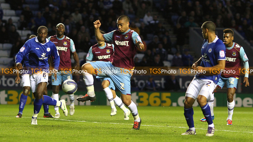 Winston Reid scores the 1st goal for West Ham - Leicester City vs West Ham United, npower Championship at The Walkers Stadium, Leicester - 23/04/12 - MANDATORY CREDIT: Rob Newell/TGSPHOTO - Self billing applies where appropriate - 0845 094 6026 - contact@tgsphoto.co.uk - NO UNPAID USE..