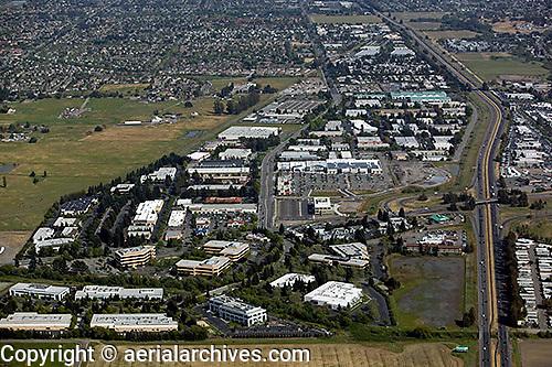 aerial photograph commercial office real estate, Petaluma, Sonoma county, California