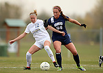 BROOKINGS, SD - OCTOBER 12: Dani Patterson #12 from South Dakota State battles for the ball with Hannah Briggs #34 from Oral Roberts University in the second half of their game Sunday afternoon at Fischback Soccer Field in Brookings. (Photo by Dave Eggen/Inertia)