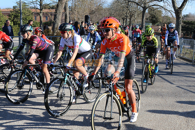 Marianne Vos (NED) CCC Liv at the start of the Strade Bianche Women Elite 2019 running 133km from Siena to Siena, held over the white gravel roads of Tuscany, Italy. 9th March 2019.<br /> Picture: Seamus Yore | Cyclefile<br /> <br /> <br /> All photos usage must carry mandatory copyright credit (© Cyclefile | Seamus Yore)