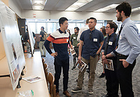 """Geomagnetic Field Intensity Changes During an R-N Polarity Reversal Recorded by Mafic Lava Flows, Anahola, Kauai"" by Yiming Zhang<br /> (Mentor: Scott Bogue, Geology)<br /> Occidental College's Undergraduate Research Center hosts their annual Summer Research Conference, Aug. 1, 2018. Student researchers presented their work as either oral or poster presentations at the final conference. The program lasts 10 weeks and involves independent research in all departments.<br /> (Photo by Marc Campos, Occidental College Photographer)"
