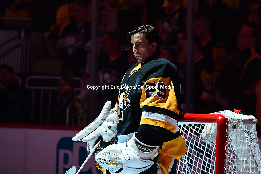 May 15, 2017: Pittsburgh Penguins goalie Marc-Andre Fleury (29) stands at the net before game two of the National Hockey League Eastern Conference Finals between the Ottawa Senators and the Pittsburgh Penguins, held at PPG Paints Arena, in Pittsburgh, PA. Pittsburgh defeats Ottawa 1-0 in regulation to tie the series 1-1. Eric Canha/CSM