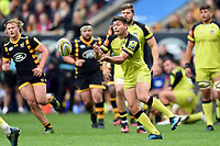 Ben Youngs of Leicester Tigers passes the ball. Aviva Premiership semi final, between Wasps and Leicester Tigers on May 20, 2017 at the Ricoh Arena in Coventry, England. Photo by: Patrick Khachfe / JMP
