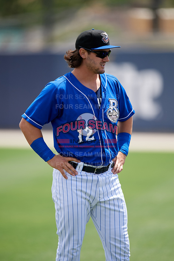 Biloxi Shuckers Clint Coulter (12) before a game against the Jackson Generals on April 23, 2017 at MGM Park in Biloxi, Mississippi.  Biloxi defeated Jackson 3-2.  (Mike Janes/Four Seam Images)