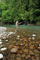 Fishing the Upper Sandy River near the old Marmot Dam site in Clackamas County Oregon