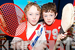 SPORTS FANS: Niall Kirby and Iarla O'Mahony at the launch of the  Scoil Realta na Maidine Listowel new development of all weather multi sport facilites which was unveiled on Thursday..