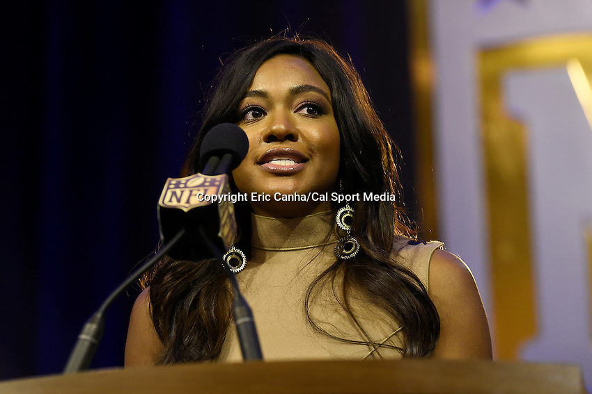 Friday, February 5, 2016: Brittney Payton speaks at a press conference to introduce the Walter Payton Man of the Year finalists at the Moscone Center in San Francisco, California during the National Football League week long opening celebrations for Super Bowl 50 between the Carolina Panthers and the Denver Broncos . Eric Canha/CSM