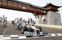 ATENCAO EDITOR - IMAGEM EMBARGADA PARA VEICULOS INTERNACIONAIS - <br /> YEONGAM, COREIA DO SUL, 14 OUTUBRO 2012 - F1 - GP DA COREIA DO SUL - O piloto alemao Michael Shumacher da equipe Mercedes durante o GP da Coreia do Sul, neste domingo, 14. (FOTO: PIXATHLON / BRAZIL PHOTO PRESS).