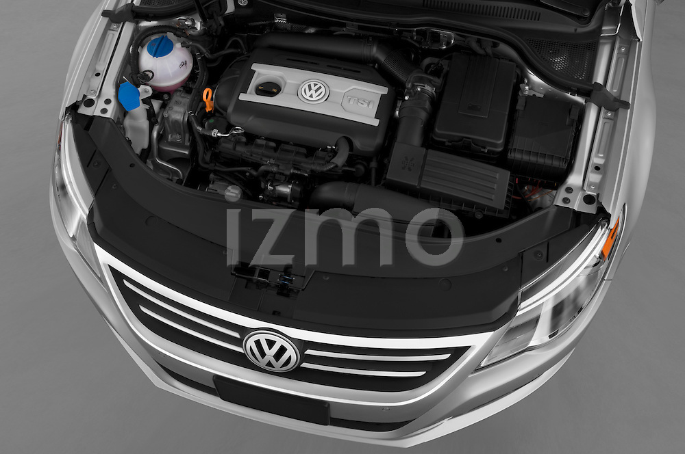 High angle engine detail of a  2009 volkswagen cc luxary.