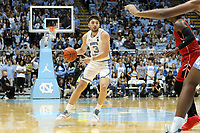 CHAPEL HILL, NC - NOVEMBER 01: Andrew Platek #3 of the University of North Carolina dribbles the ball during a game between Winston-Salem State University and University of North Carolina at Dean E. Smith Center on November 01, 2019 in Chapel Hill, North Carolina.