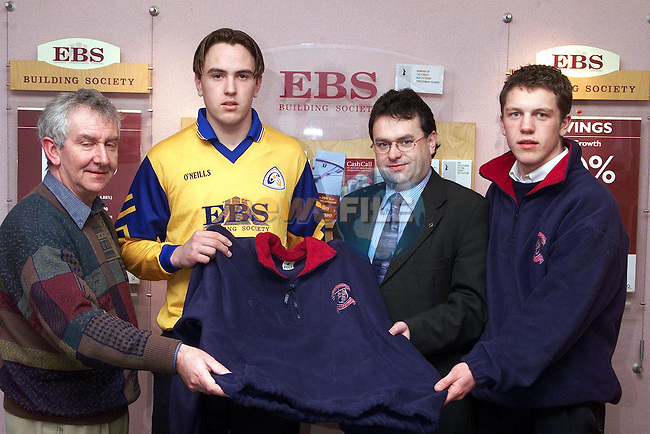 Bernard Woods, manager EBS Building Society presenting Pat Colgan, manager St. Mary's Diocesion School with new fleeces. Also pictured are Brian Kelly, vice captain and Niall Ronan, captain..Picture Paul Mohan Newsfile
