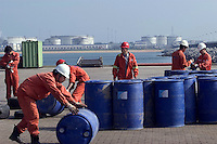 Oilfield Services Workers of China National Offshore Oil Corporation's (CNOOC) prepare supplies for oil rigs in China's Liaodong Bay of the Bohai sea in Tianjin, China..