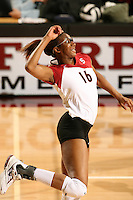 8 October 2005: Foluke Akinradewo during Stanford's 3-1 loss to Washington at Maples Pavilion in Stanford, CA.
